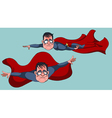 cartoon man in a Superman costume flies forward vector image