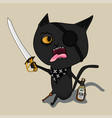 Cat pirate with a bottle of rum and a blade cute vector image