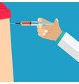 Doctor making vaccination vector image