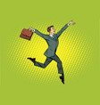elegant funny businessman with briefcase running vector image