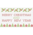 Merry Christmas and New Year cross-stitch card vector image