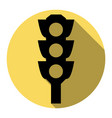 traffic light sign  flat black icon with vector image