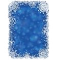 Christmas frame with snowflakes - blue vector image vector image