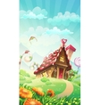 Cartoon candy house on the meadow - vector image