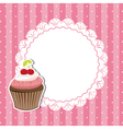 Cherry cupcake invitation card vector image