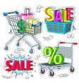 colorful sticker set cards and baskets and the vector image