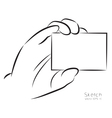 draw hand and business card vector image