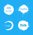 set of milk splash labels vector image