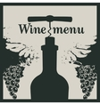 Wine menu with a bottle with a corkscrew vector image vector image