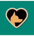paper sticker on stylish background puppy dog vector image