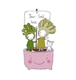 Two fairies succulent cat and pot vector image
