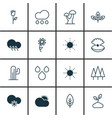 set of 16 ecology icons includes cold climate vector image