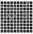 100 birthday icons set grunge style vector image