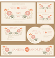 Beautiful vintage wedding invitation cards vector image