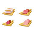 Set meat products on the cutting board vector image vector image