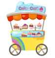 cart stall and a cupcake vector image