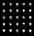Design shield icons with reflect on black vector image