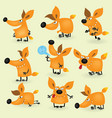 funny cartoon fox set vector image