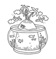 paradise island in fish tank vector image