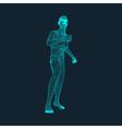 3D Model of Man Polygonal Design Geometric Grid vector image vector image