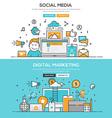 Flat design line concept Social Meia Digital M vector image