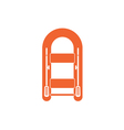 Inflatable boat with oars simple icon vector image
