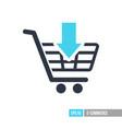 shopping cart with an arrow icon vector image