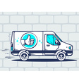 van with label thumb up free and fast del vector image
