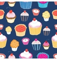 Pattern color delicious cakes vector image