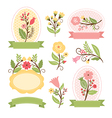 Set of floral bouquets and romantic frames vector image vector image