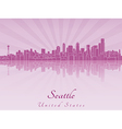 Seattle skyline in purple radiant orchid vector image vector image