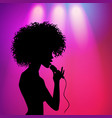 afro american girl singing silhouette vector image