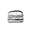doodle burger icon vector image