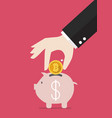 hand collect the target in piggy bank vector image