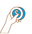 hand holding money coin dollar payment concept vector image
