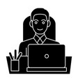 man businessman in office at table with laptop vector image