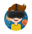 young man with glasses of virtual reality vector image
