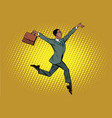 elegant funny african businessman with briefcase vector image vector image