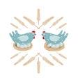 Funny Hen in Nest and Eggs vector image
