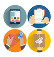 Set of hands clients purchasing vector image