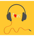 Headphones with red cord Love card White text and vector image