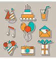 Holiday flat icons festive signs and symbols vector image