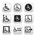 Man on wheelchair disabled emergency exit button vector image