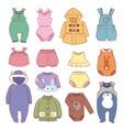 set of seasonal infant clothes for kids babyish vector image