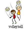 Stickmen playing volleyballs vector image