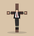 Crucified business man vector image
