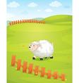 A sheep at the field vector image