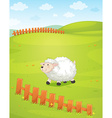 A sheep at the field vector image