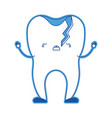 broken tooth cartoon in blue silhouette vector image