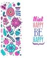 card design flowers and leaf doodle elements vector image